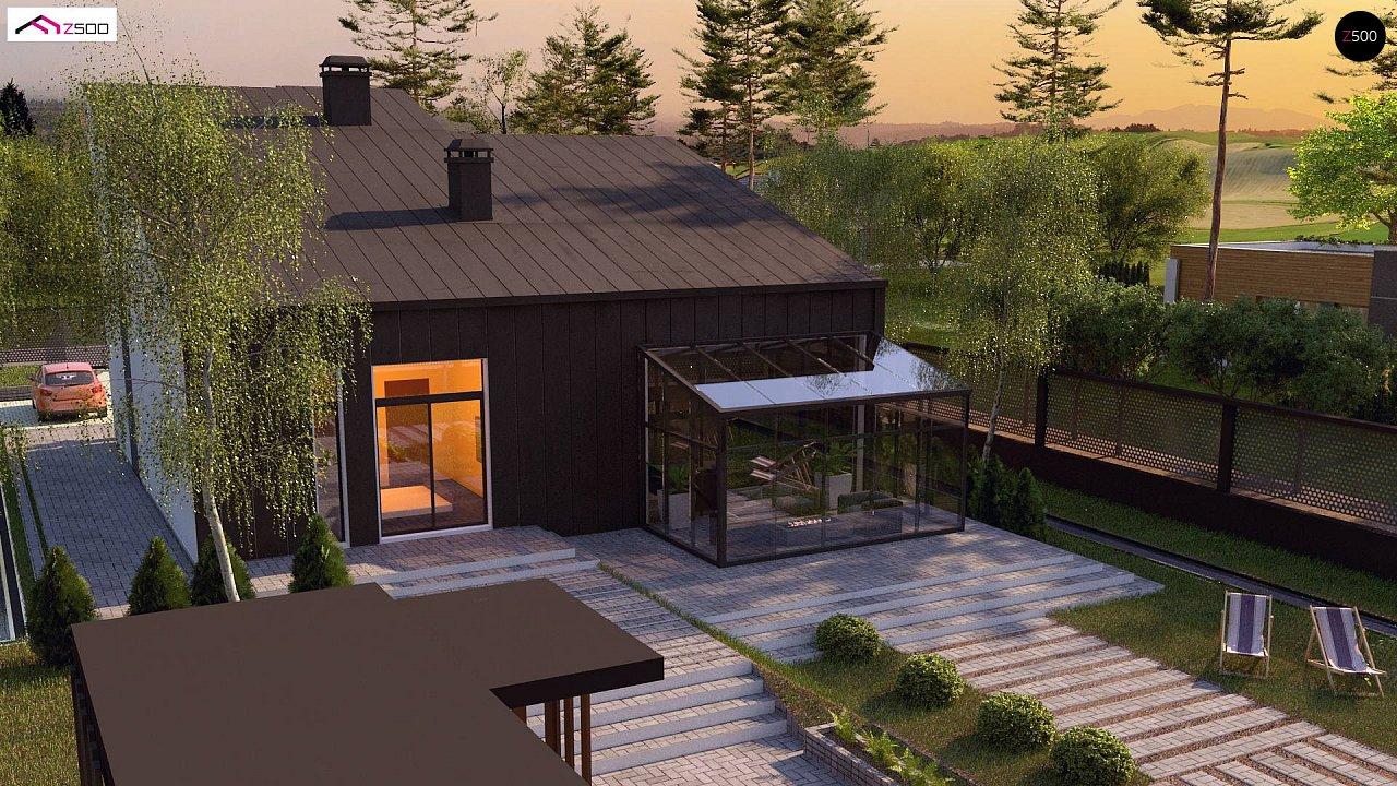 Проект современного двухэтажного дома с оригинальным экстерьером и гаражом на один автомобиль. 6