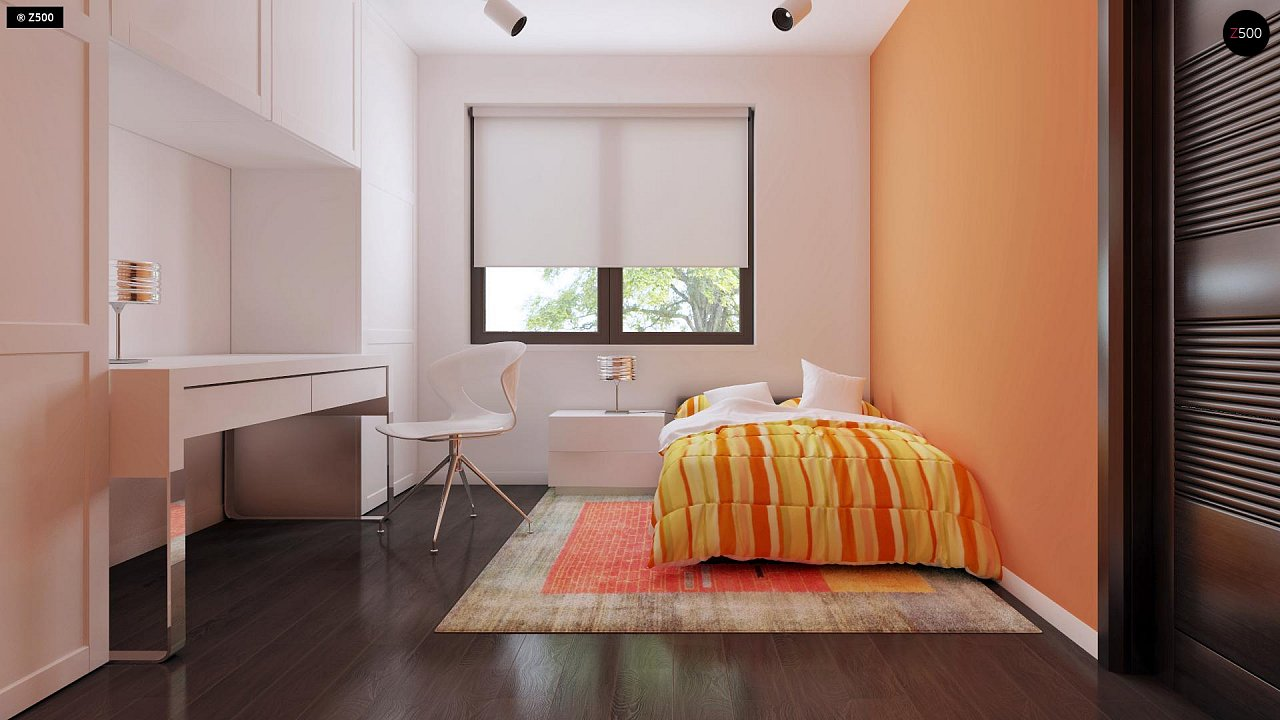 Проект удобного одноэтажного дома с гаражом для двух автомобилей и большим хозяйственным помещением. 18