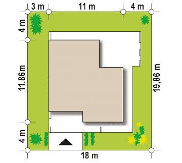 Проект современного дома в стиле хай-тек с двумя спальнями. план помещений 1