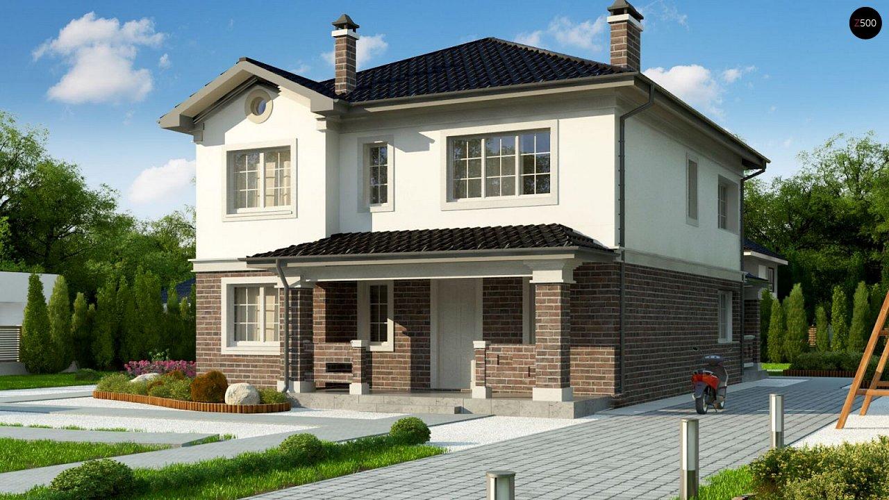 Проект двухэтажного дома в классическом стиле с дополнительной спальней на первом этаже. - фото 1
