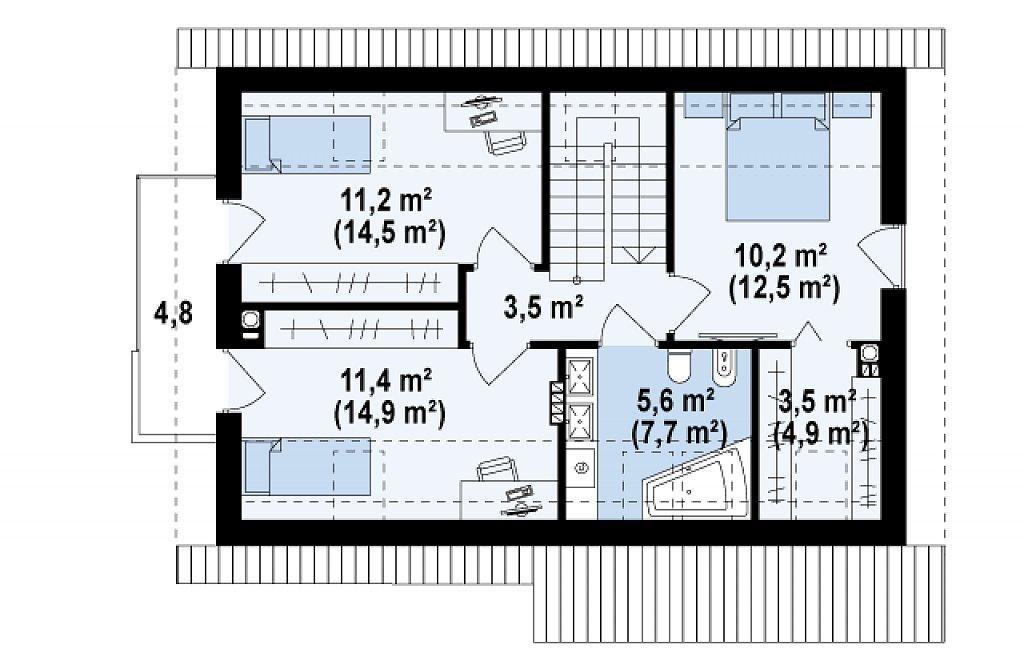 Версия проекта Z225 c отделкой фасадов облицовочным кирпичом. план помещений 2