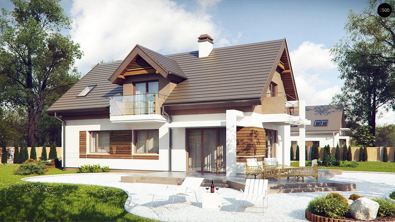 Проект функционального уютного дома с мансардными окнами и оригинальной отделкой фасадов. 2