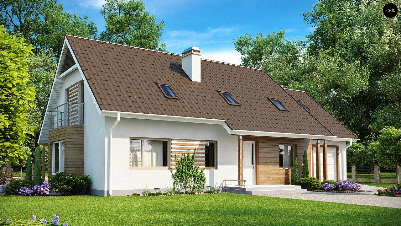 Проект просторного функционального дома с мансардой, гаражом для одной машины и дополнительной спальней на первом этаже. 2