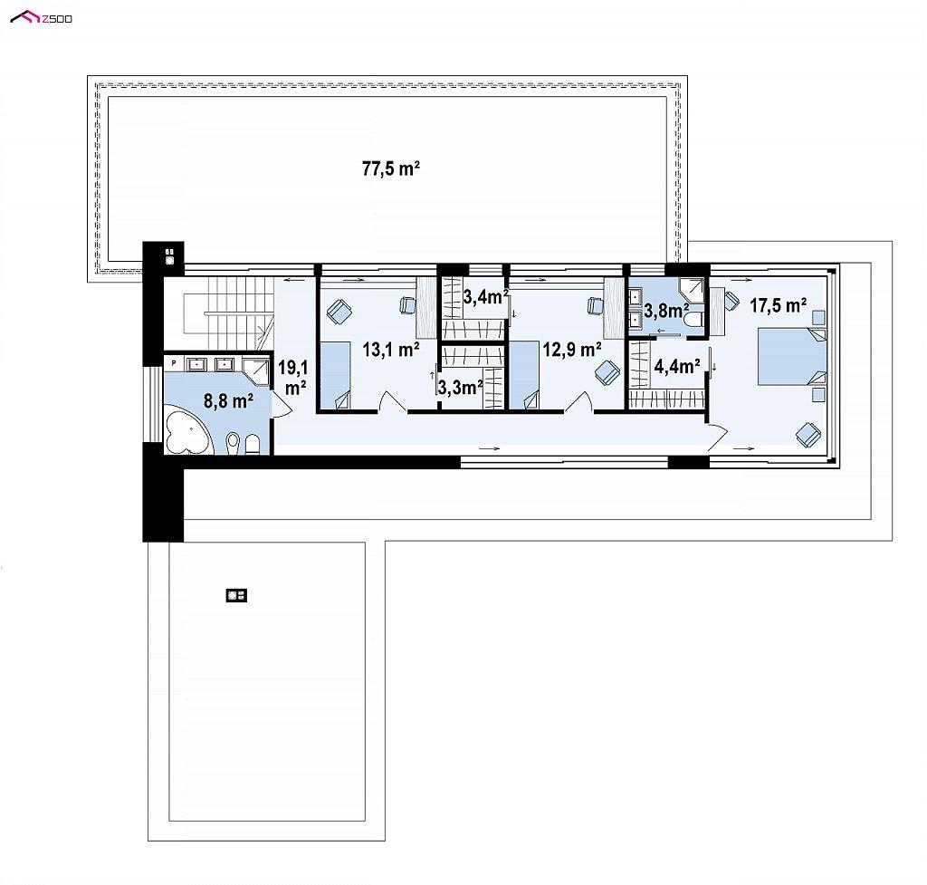 Просторный современный двухэтажный дом план помещений 2