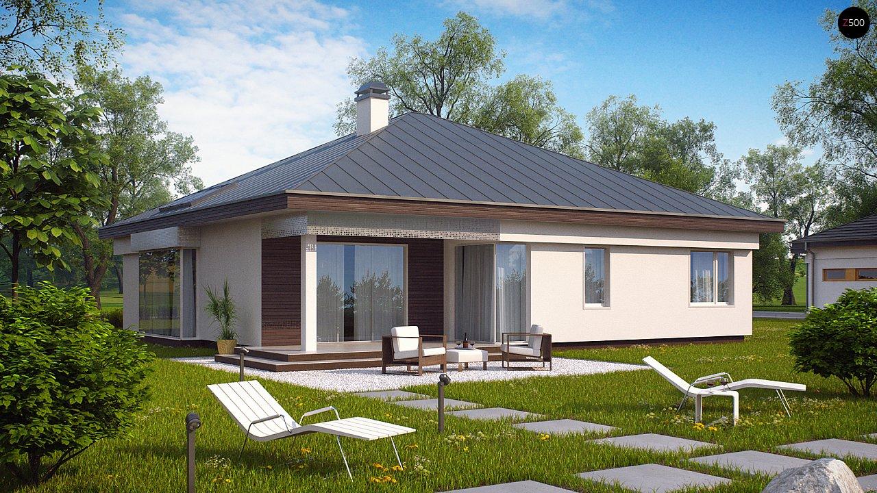 Удобный одноэтажный дом с гаражом для двух автомобилей, с большой площадью остекления в дневной зоне. 4