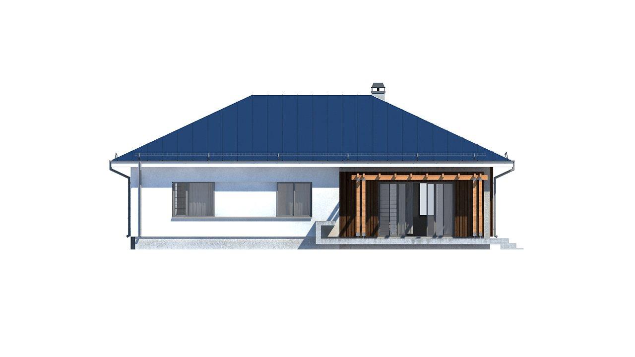 Практичный одноэтажный дом традиционной формы с многоскатной крышей. 25