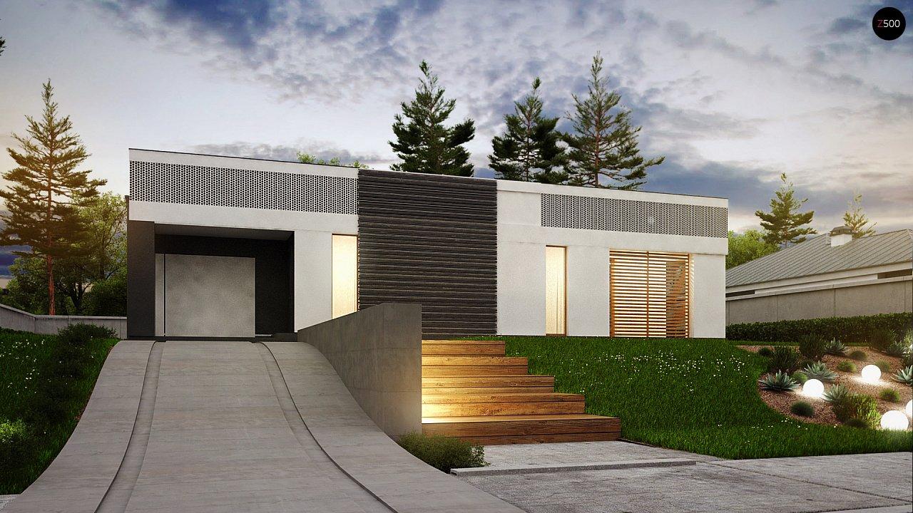 Проект дома в современном стиле с закрытой террасой - фото 12
