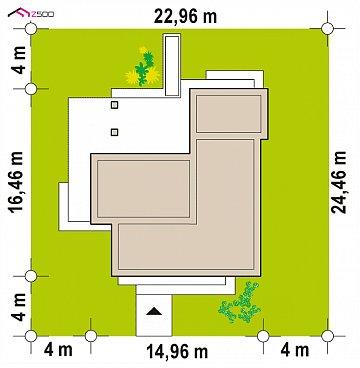 Проект просторного одноуровневого дома с плоской кровлей. план помещений 1