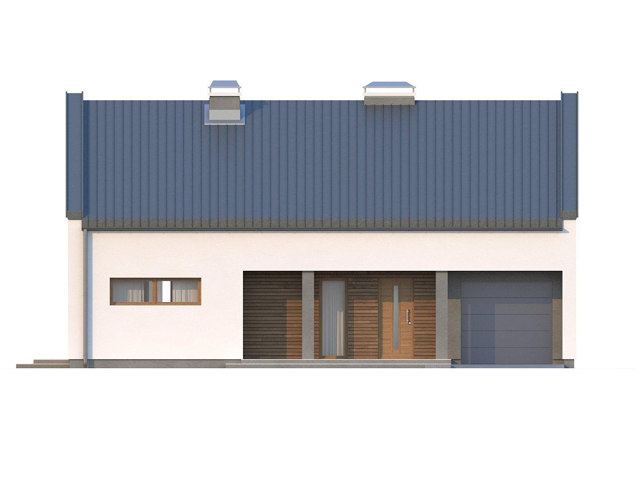 Аккуратный современный дом простой формы с оригинальной двускатной крышей. - фото 3