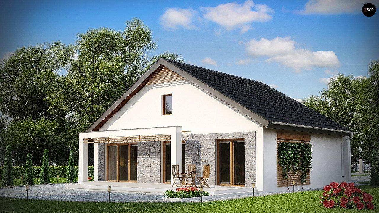 Одноэтажный дом с дополнительной фронтальной террасой. 2