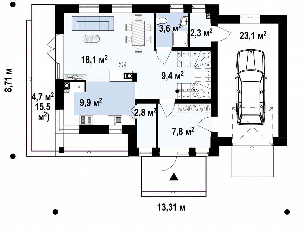 Практичный дом с гаражом, с красивым мансардным окном и боковой террасой. план помещений 1