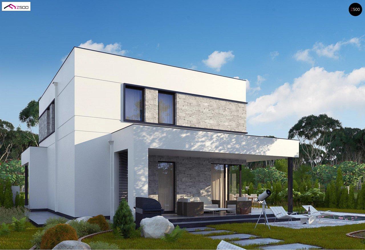 Простой аккуратный проект двухэтажного дома с плоской кровлей 2