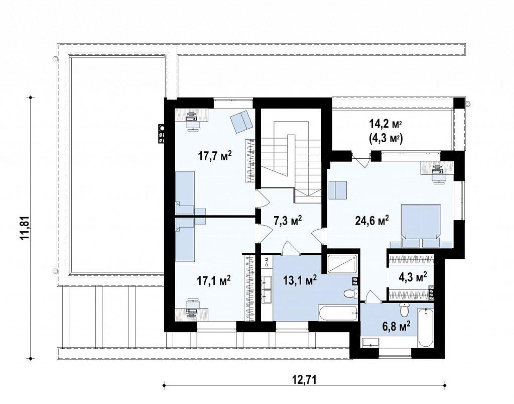 Проект дома с сауной в традиционном стиле план помещений 2