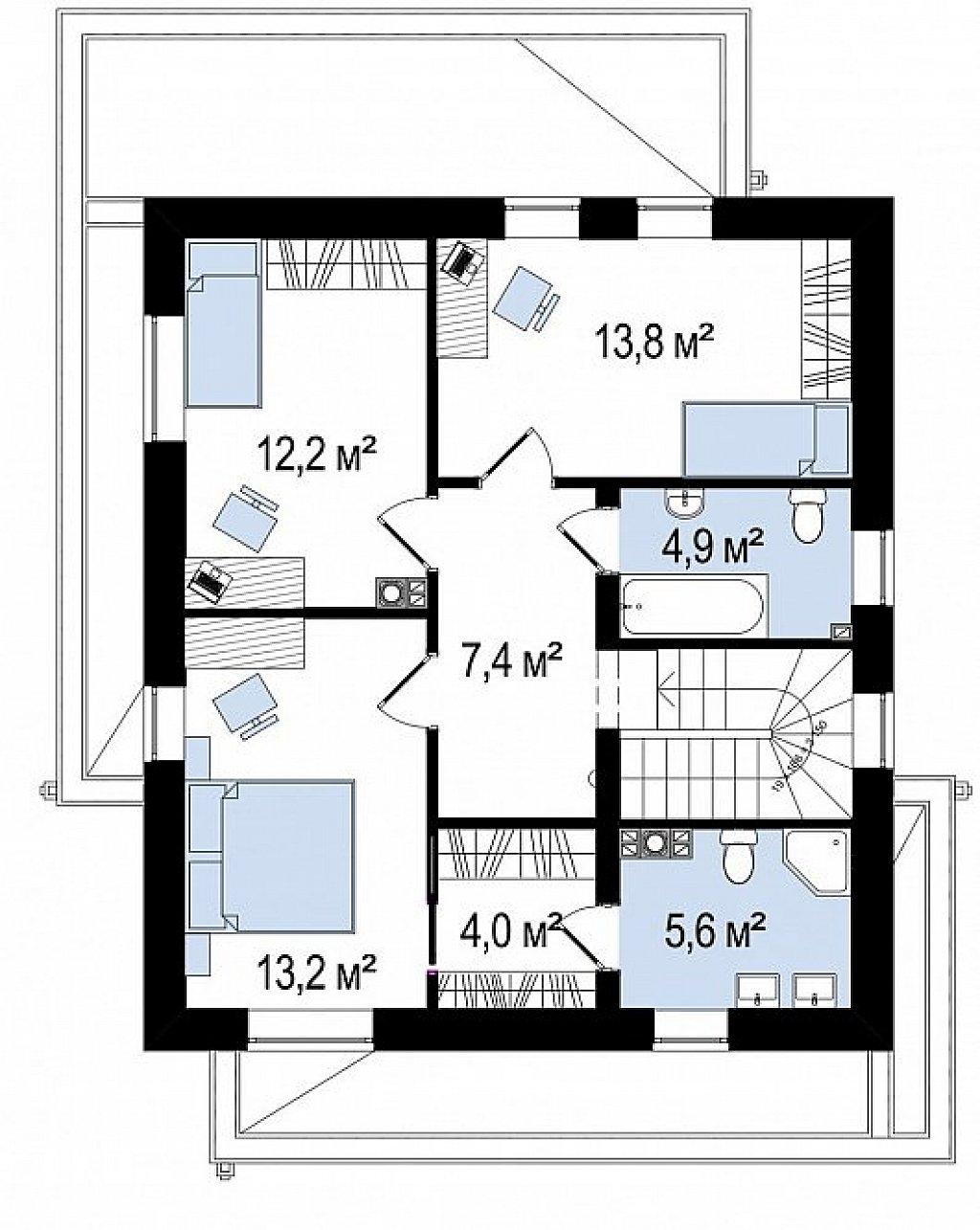 Вариант двухэтажного дома Zx92 с плоской кровлей с плитами перекрытия план помещений 2