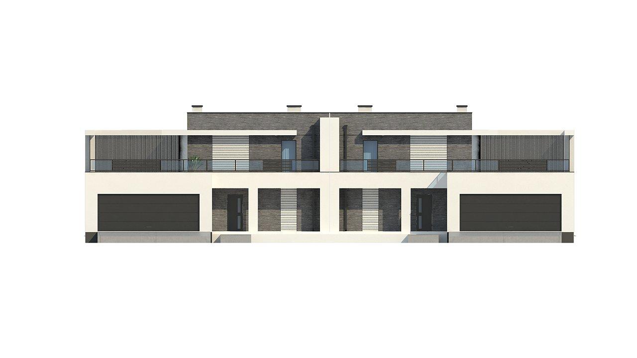 Современный проект домов-близнецов с большим гаражом и террасой на втором этаже. 13