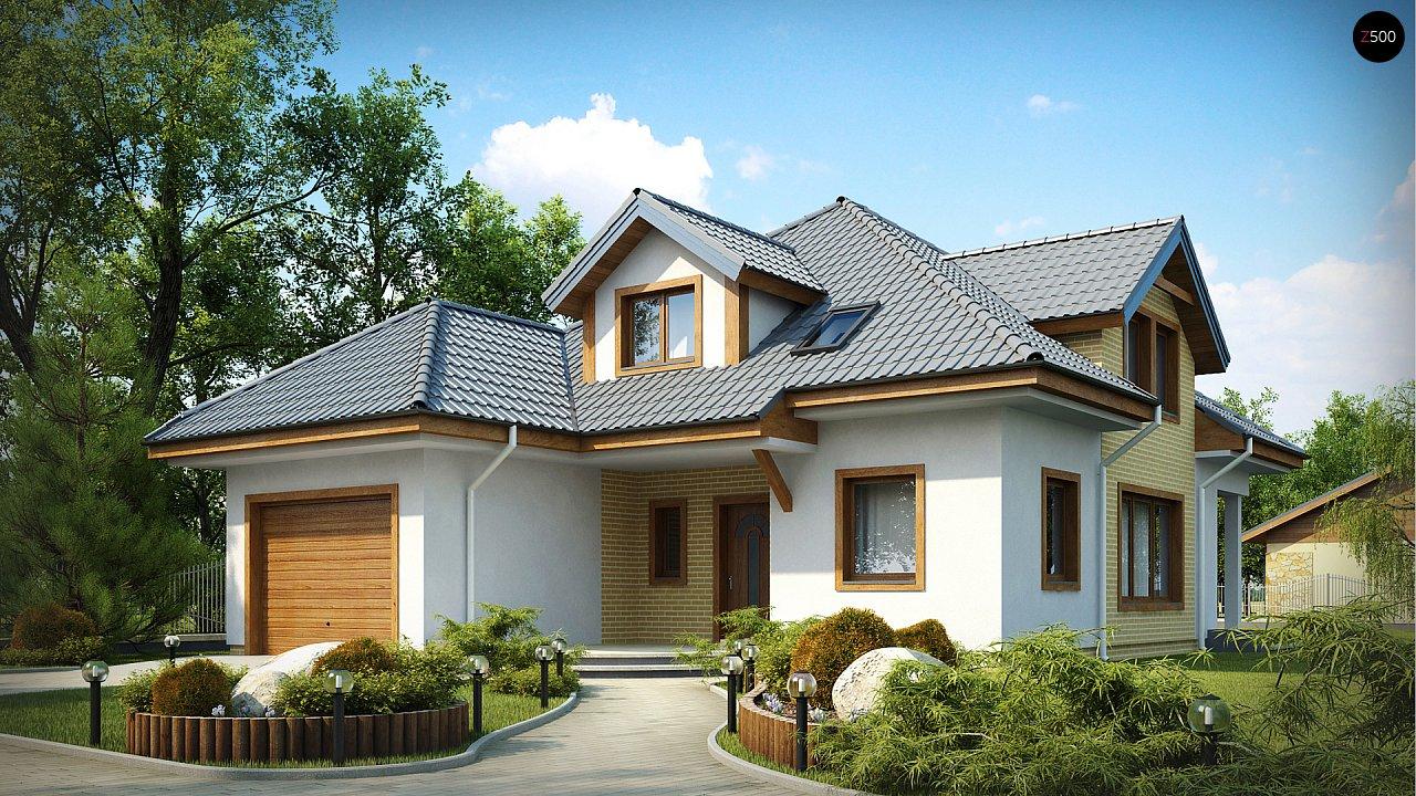 Проект дома с мансардой, с большим техническим помещением и дополнительной спальней на первом этаже. - фото 1