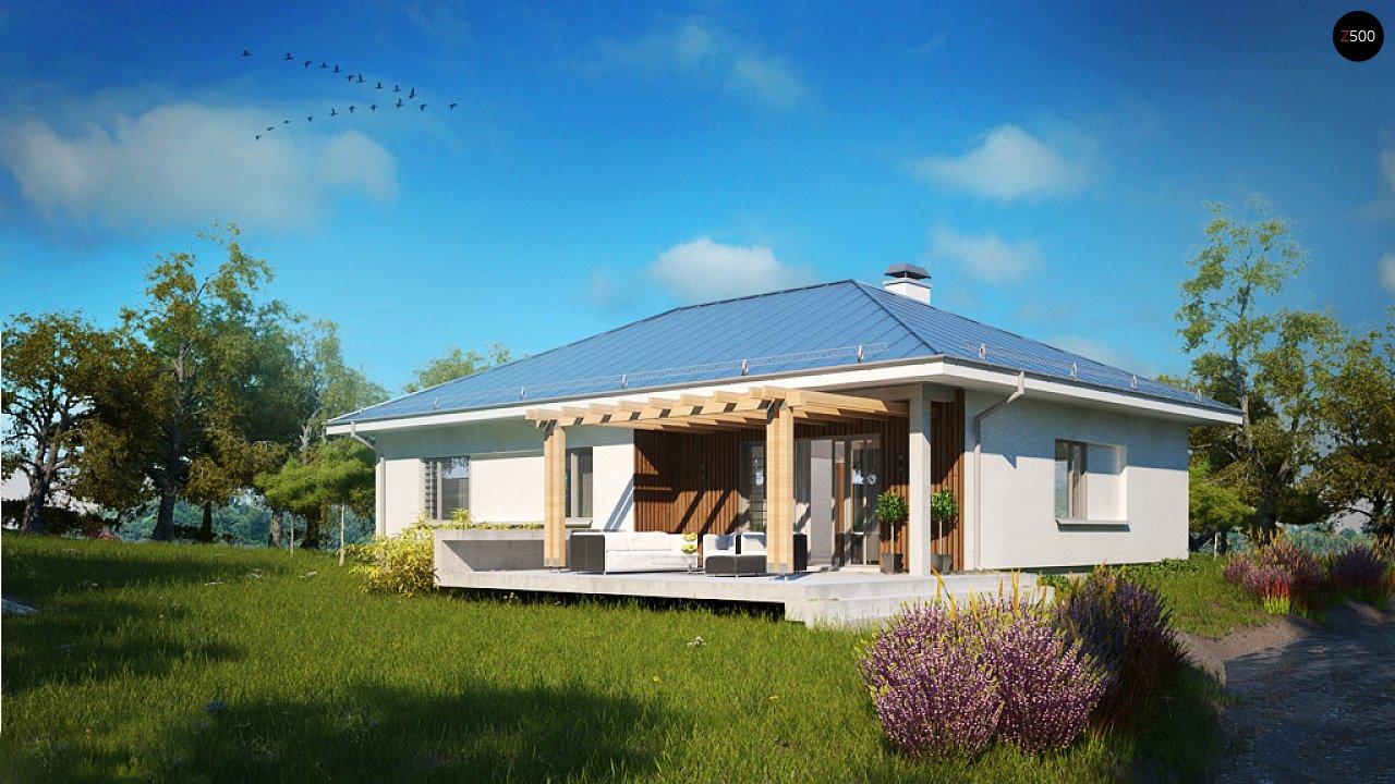 Практичный одноэтажный дом традиционной формы с многоскатной крышей. 5