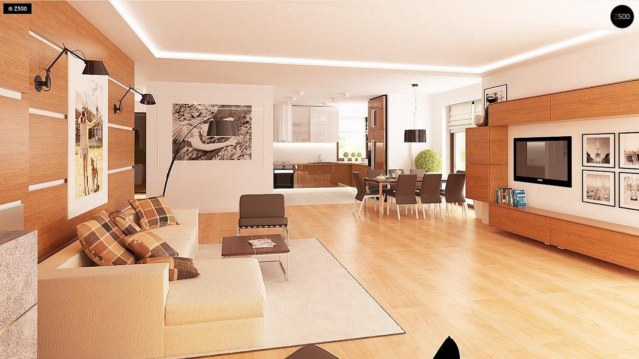 Одноэтажный просторный дом с эркером и крытой террасой. 5