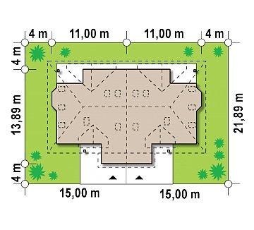 Проект домов близнецов с гаражом и дополнительным помещением на чердаке. план помещений 1