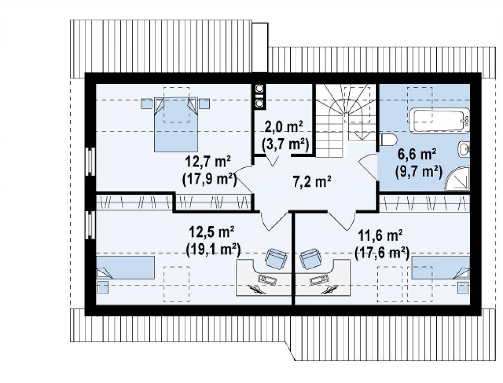 Традиционный дом с кабинетом и большой ванной комнатой на первом этаже. план помещений 2