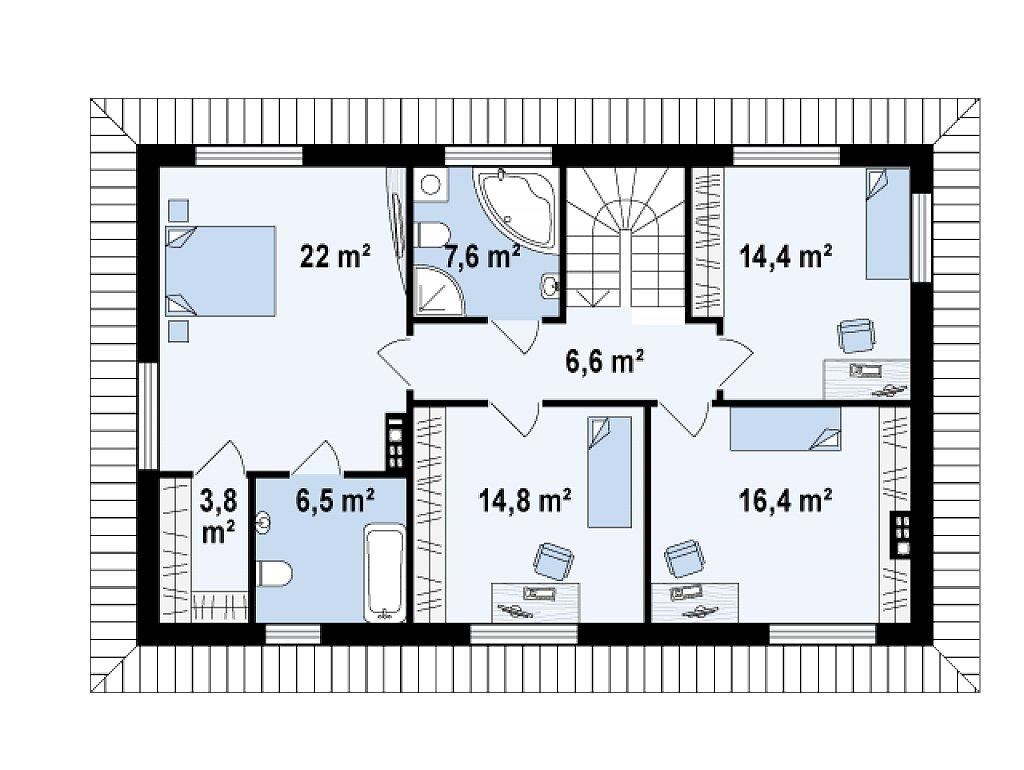 Просторный двухэтажный дом с двумя дополнительными спальнями на первом этаже. план помещений 2