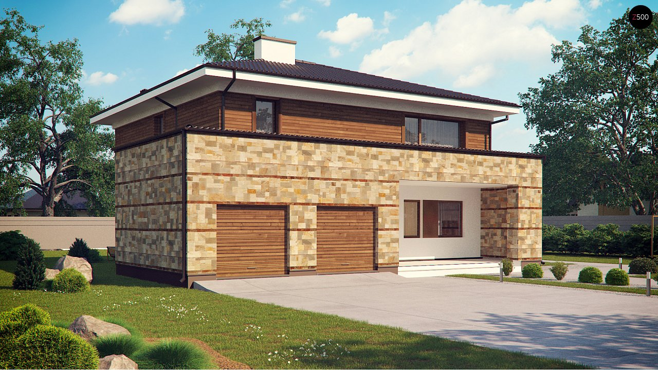 Проект двухэтажного дома с гаражом для двух авто, с баней - фото 1