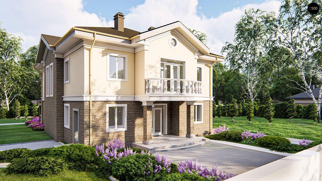 Элегантный двухэтажный классический дом с балконом - фото 1