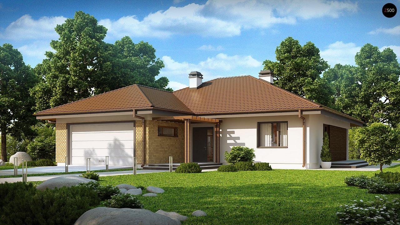 Проект удобного одноэтажного дома с гаражом для двух автомобилей и большим хозяйственным помещением. 2
