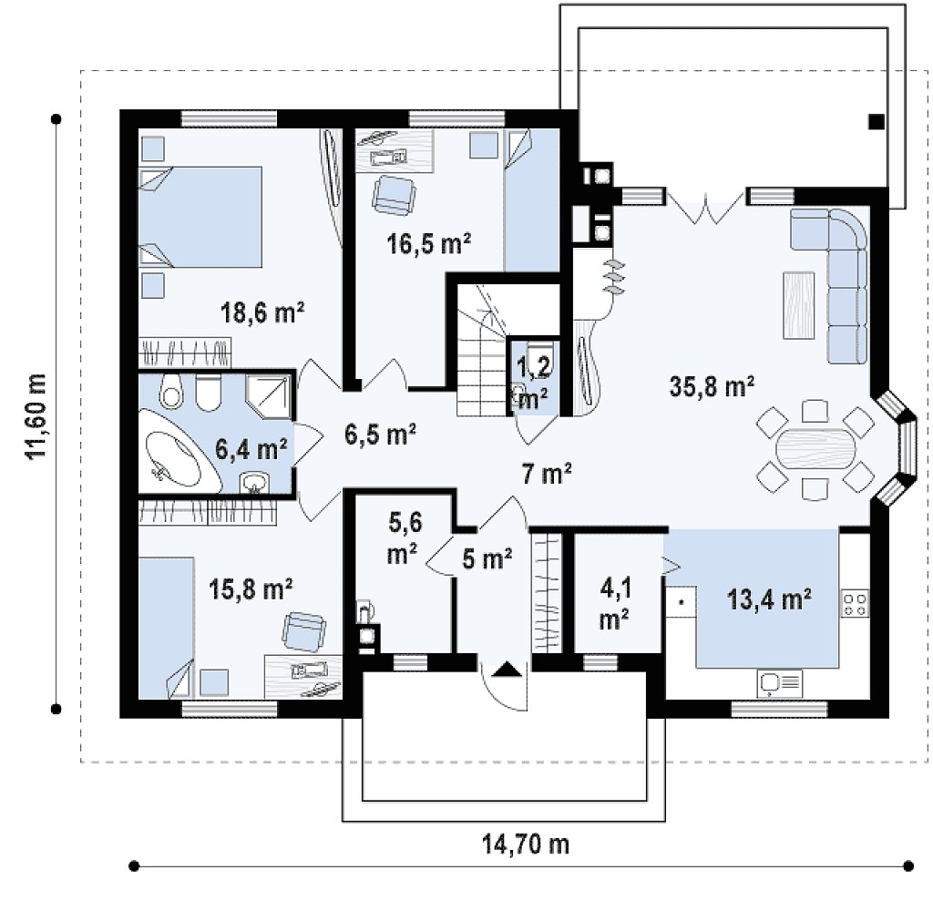 Версия проекта Z10 с лестницей, ведущей на второй этаж. план помещений 1