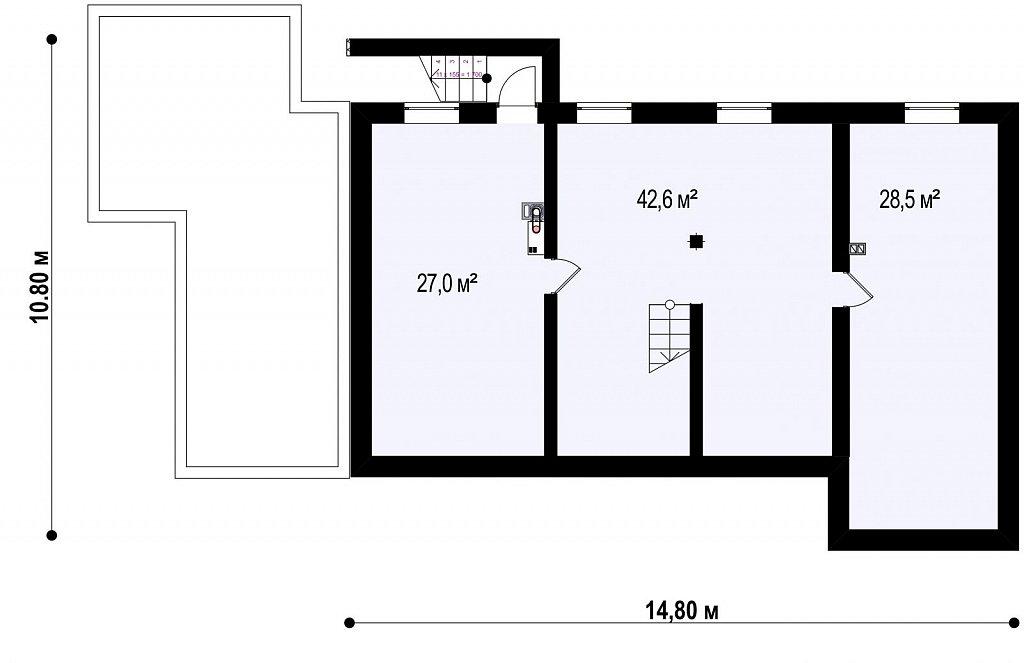 Проект функциональный двухэтажный дом с 4 спальнями и подвалом. план помещений 1