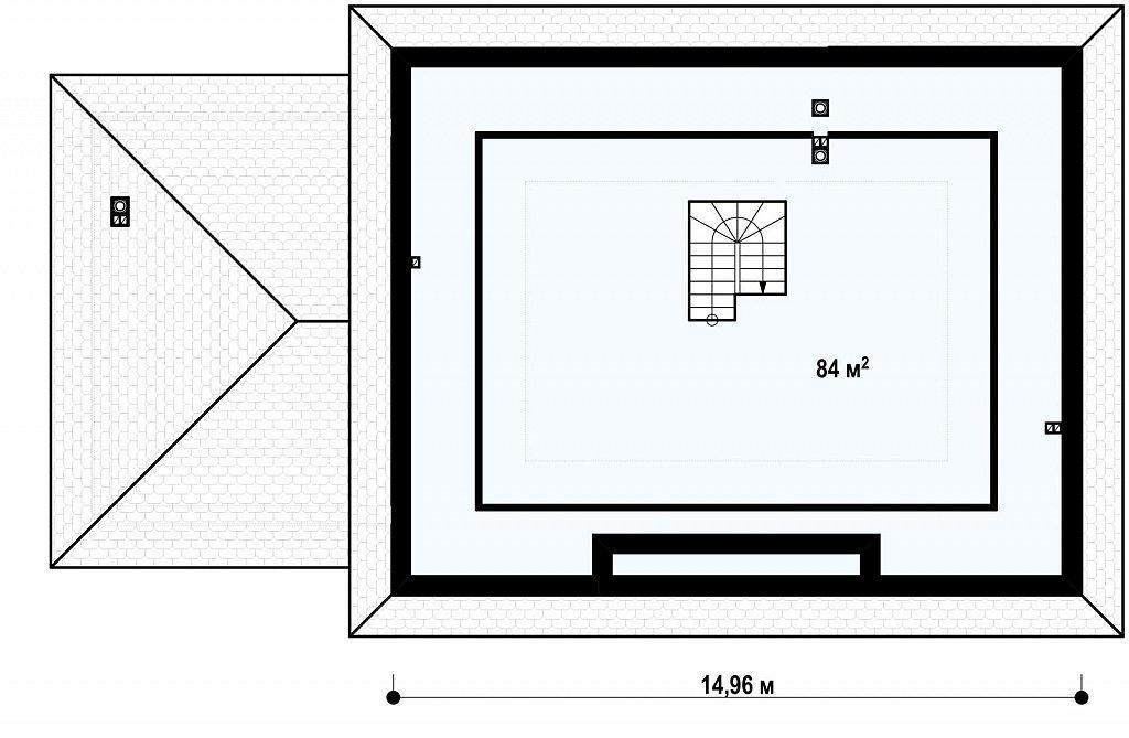 Версия проекта Z10 с гаражом для двух машин с левой стороны. план помещений 2