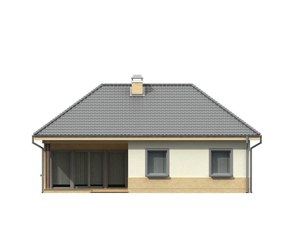 Практичный одноэтажный дом с 4-х скатной кровлей и угловым окном в кухне. 22