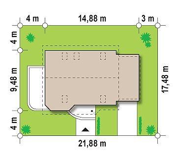 Проект дома с гостиной со стороны входа, боковой террасой и дополнительной спальней на первом этаже. план помещений 1