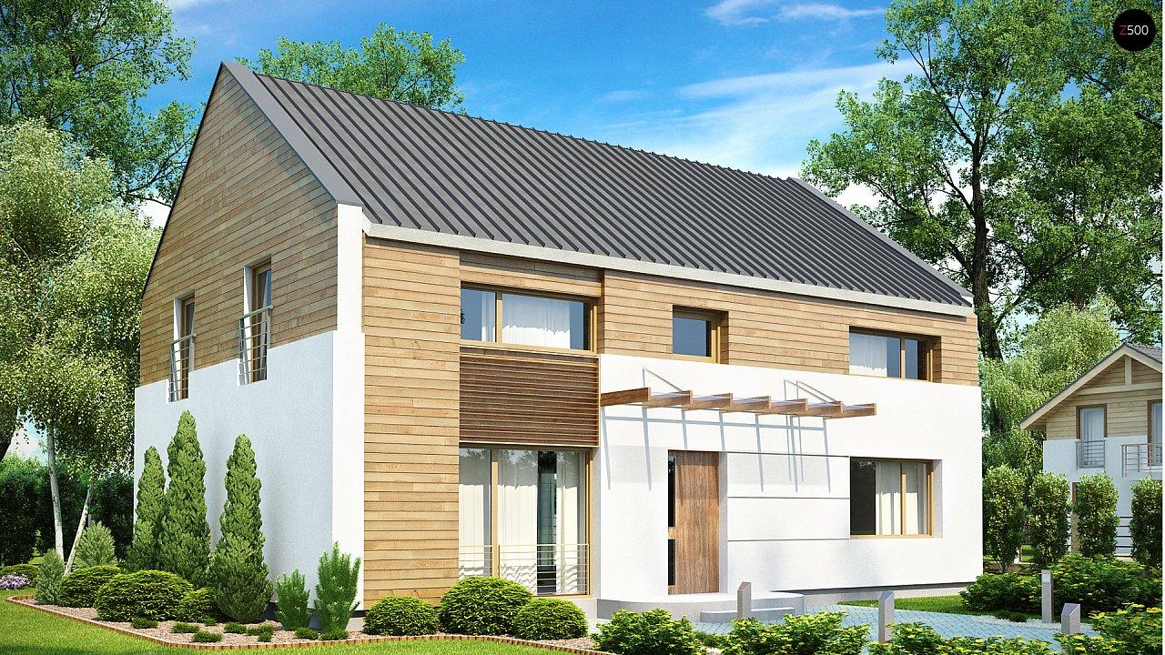 Энергоэффективный дом оригинального дизайна с просторной гостиной. - фото 1