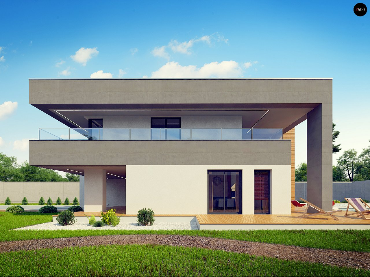 Современный двухэтажный дом с большой площадью остекления. - фото 5