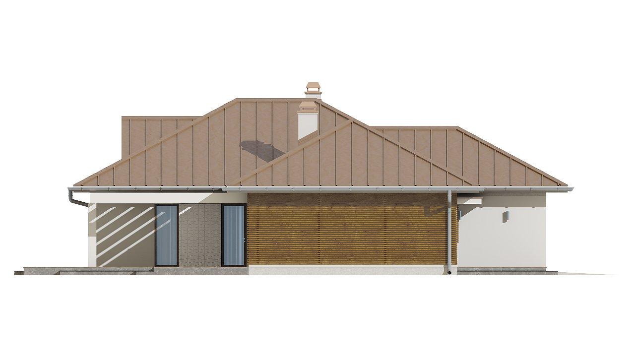 Проект удобного одноэтажного дома с большой угловой террасой. 7
