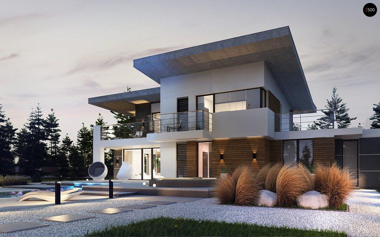 Современный двухэтажный дом с гаражом и террасой, спальней на первом этаже и ванной комнатой 5