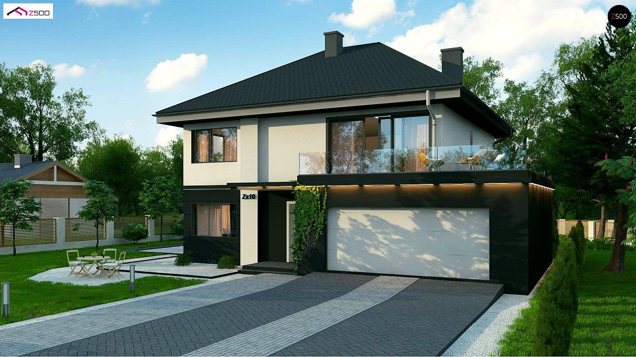 Просторный двухэтажный дом простой формы с террасой над гаражом. - фото 1