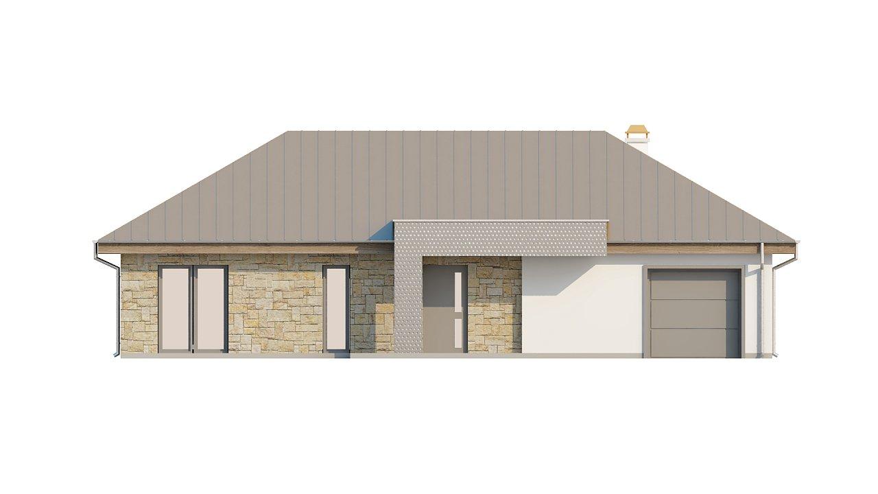 Проект одноэтажного дома с гаражом, с четко выделенной приватной зоной. 4