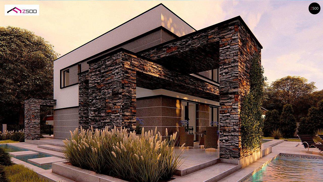 Проект двухэтажного просторного дома с плоской кровлей и панорамным остеклением. 1