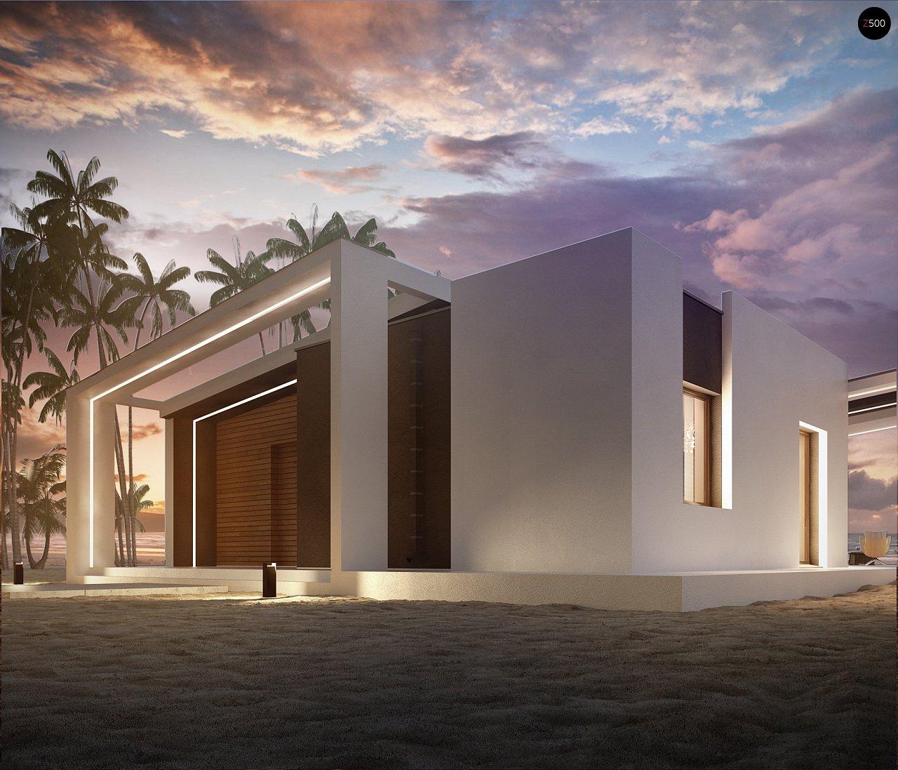 Современный и функциональный одноэтажный дом с уникальной архитектурной формой. 5