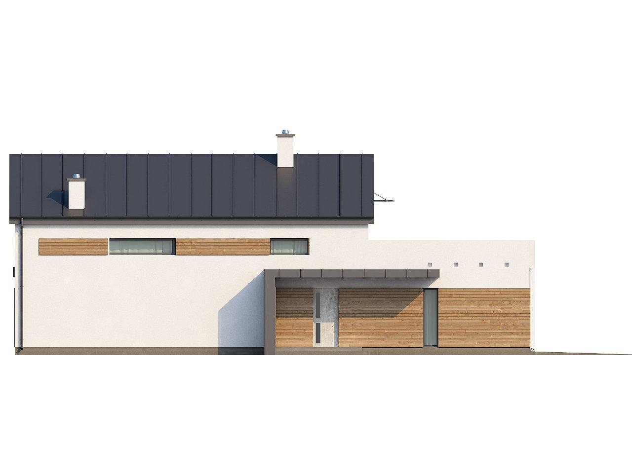 Дом современного простого дизайна. Продольная форма, уютный комфортный интерьер. - фото 17