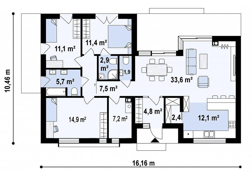 Одноэтажный дом состоящий из двух частей. план помещений 1