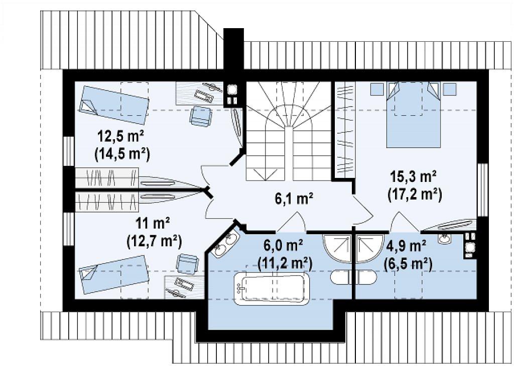 Традиционный дом простой формы с двускатной крышей, с дополнительной комнатой на первом этаже. план помещений 2