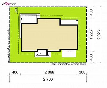 Проект одноэтажного дома с четырехскатной кровлей и гаражом на два автомобиля. план помещений 1