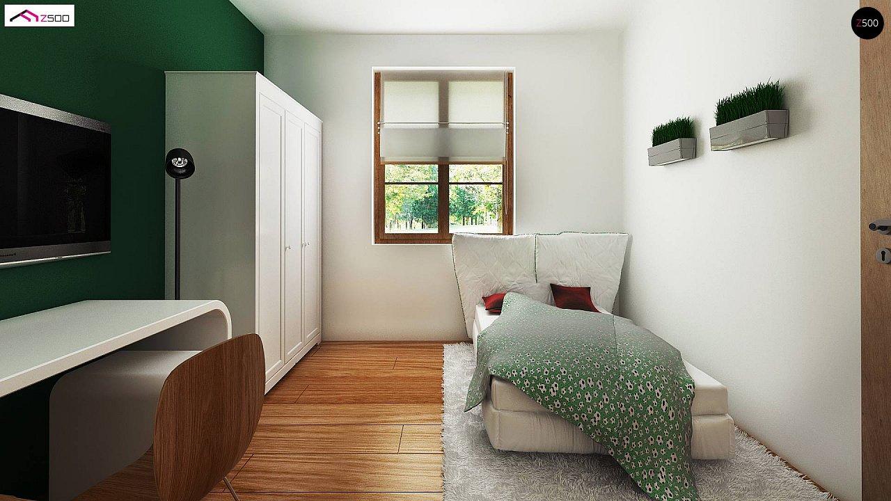 Компактный дом с мансардой, с крытой террасой и внешним камином. 6