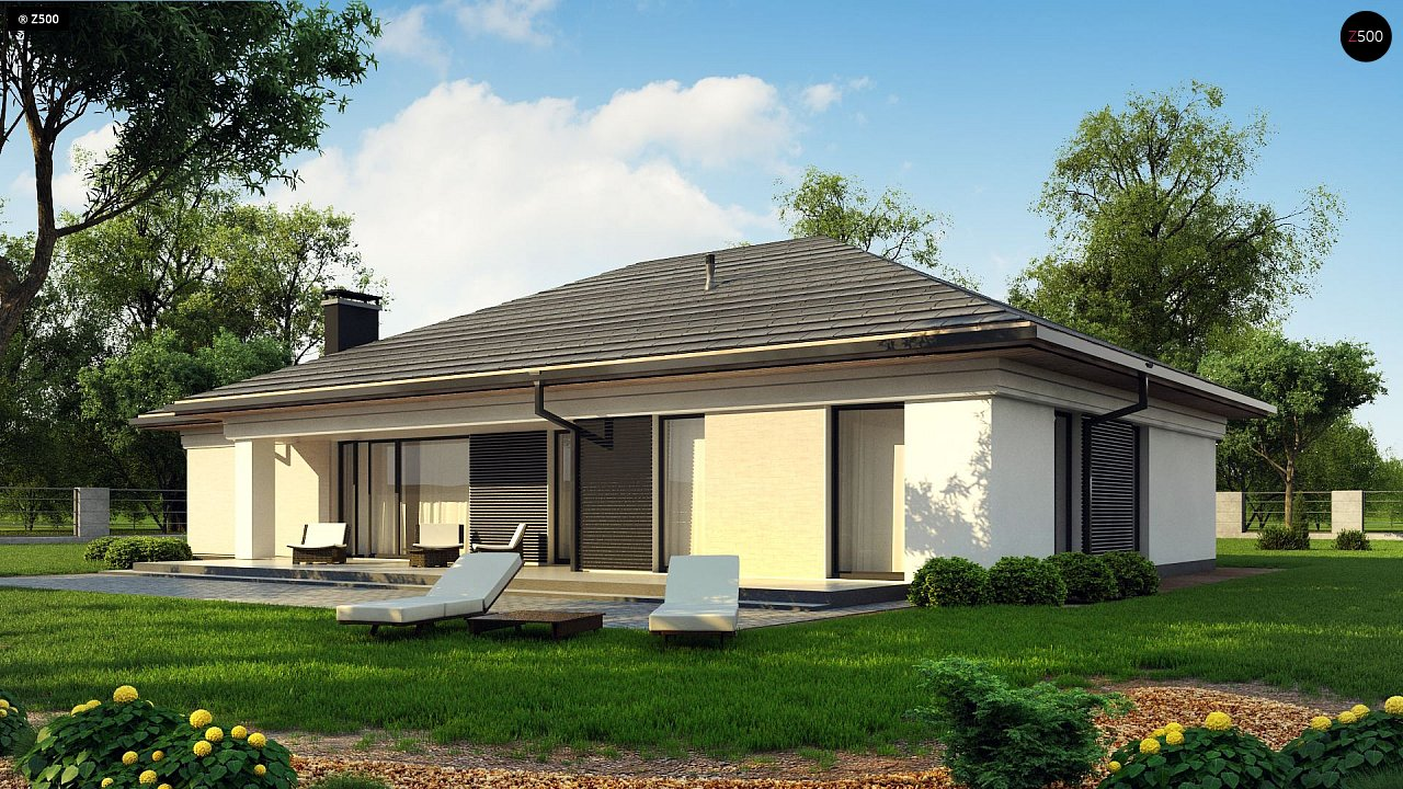 Прекрасный одноэтажный дом в современном стиле и гаражом на одну машину. - фото 4