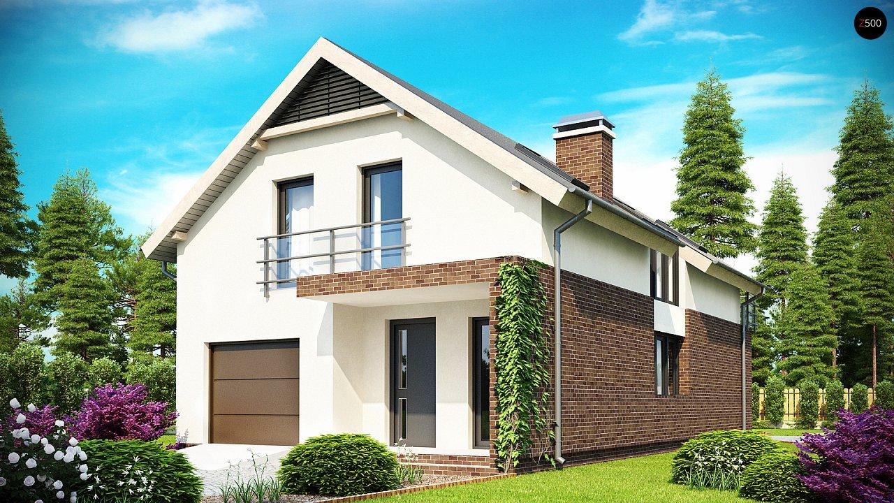 Дом в традиционном стиле с мансардой, со встроенным гаражом, подходящий для узкого участка. 1