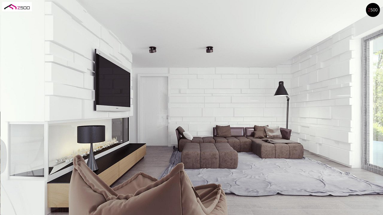Просторный и комфортный двухэтажный дом с большими окнами. 4