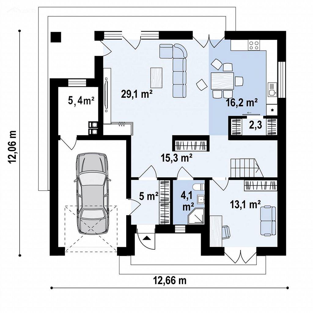 Дом с мансардой, 4-х скатной кровлей и гаражом на одну машину. план помещений 1